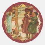 Pegatina del navidad de los niños del Victorian
