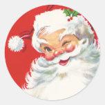 Pegatina del navidad de Papá Noel del vintage