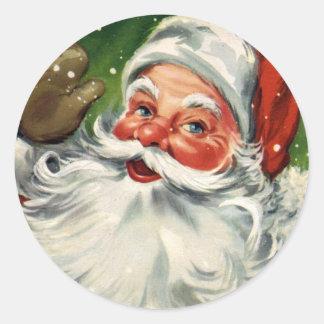Pegatina del navidad de Papá Noel del vintage del