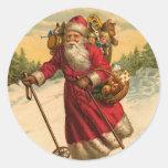 Pegatina del navidad de Santa del esquí