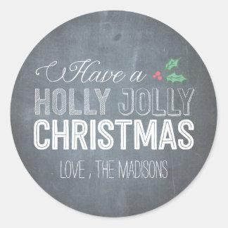 Pegatina del navidad del acebo o sello alegre del