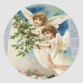 Pegatina del navidad del ángel del Victorian