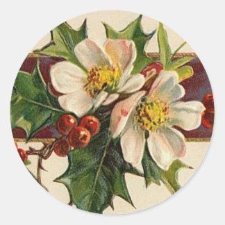 Pegatina del navidad del Dogwood del Victorian