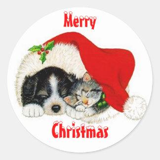 Pegatina del navidad del gato y del perro