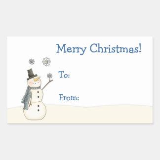 Pegatina del navidad del muñeco de nieve