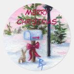 Pegatina del navidad del país de las maravillas
