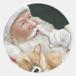 Pegatina del navidad del perrito de Santa y del