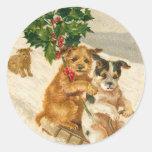 Pegatina del navidad del perro del Victorian