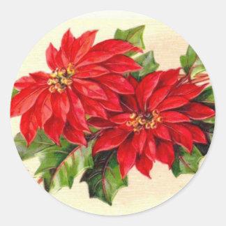 Pegatina del navidad del Poinsettia del Victorian