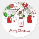 Pegatina del navidad del tarro de albañil del país