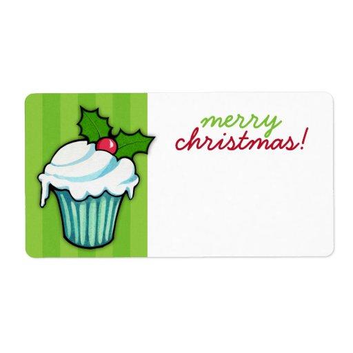 Pegatina del navidad del verde de la magdalena del etiqueta de envío