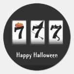 Pegatina del negro 777 del feliz Halloween