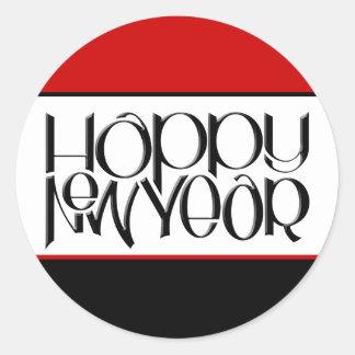 Pegatina del negro de la Feliz Año Nuevo