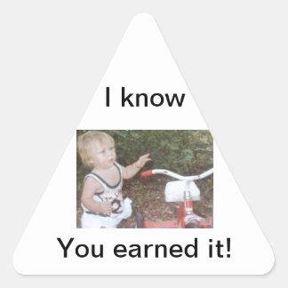 Pegatina del niño del triángulo con su trike