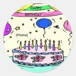 Pegatina del nombre del feliz cumpleaños