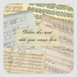Pegatina del nombre del manuscrito de la música