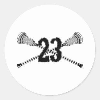 Pegatina del número 23 de LaCrosse Pegatina Redonda