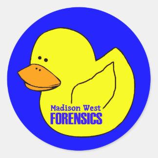 Pegatina del oeste del pato de la medecina legal