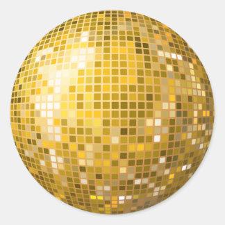 Pegatina del oro de la bola de discoteca