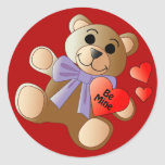 Pegatina del oso de peluche de la tarjeta del día
