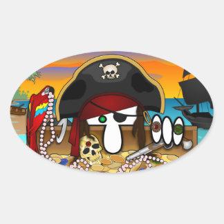 Pegatina del óvalo de Kilroy del pirata