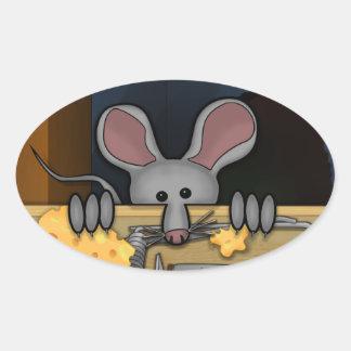 Pegatina del óvalo de Kilroy del ratón