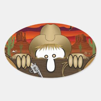 Pegatina del óvalo de Kilroy del vaquero