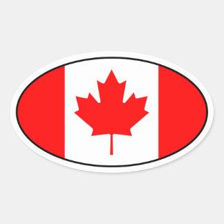 Pegatina del óvalo de la bandera de Canadá