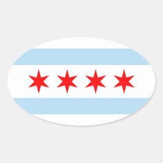 Pegatina del óvalo de la bandera de Chicago