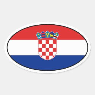 Pegatina del óvalo de la bandera de Croacia