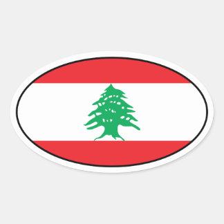 Pegatina del óvalo de la bandera de Líbano