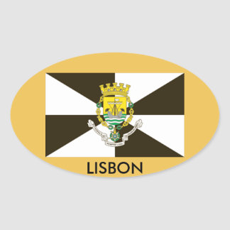 Pegatina del óvalo de la bandera de Lisboa