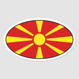 Pegatina del óvalo de la bandera de Macedonia