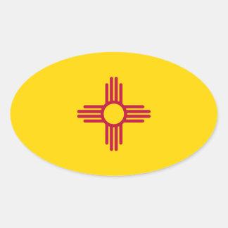 Pegatina del óvalo de la bandera de New México