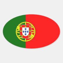Pegatina del óvalo de la bandera de Portugal*