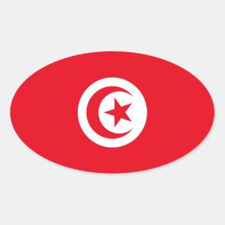 Pegatina del óvalo de la bandera de Túnez