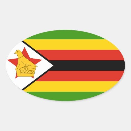 Pegatina del óvalo de la bandera de Zimbabwe