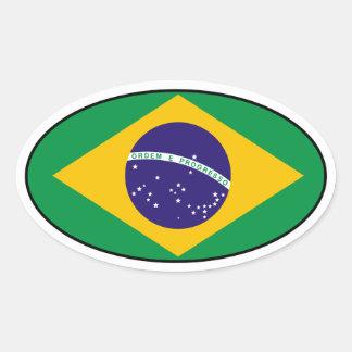 Pegatina del óvalo de la bandera del Brasil