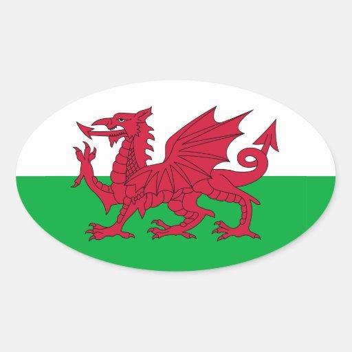 Pegatina del óvalo de la bandera Galés