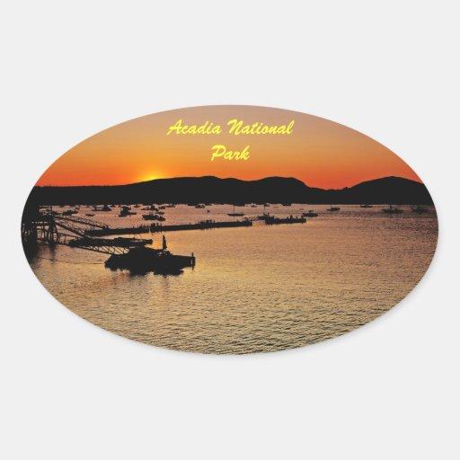 Pegatina del óvalo de la puesta del sol del Acadia