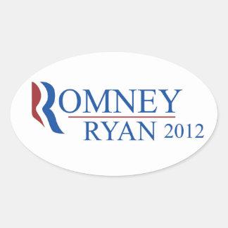 Pegatina del óvalo de Romney Ryan 2012