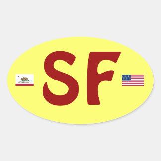 Pegatina del óvalo de San Francisco California
