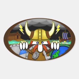 Pegatina del óvalo de Viking Kilroy