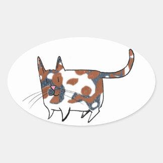 Pegatina del óvalo del calicó de los gatitos del