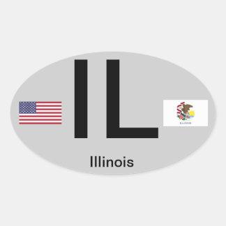 Pegatina del óvalo del Euro-Estilo de Illinois*