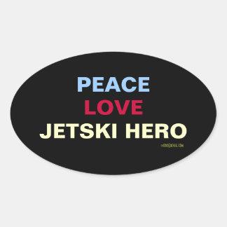 Pegatina del óvalo del héroe de Jetski del amor de