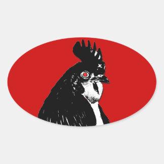 Pegatina del óvalo del logotipo del pollo el rabia