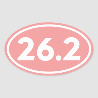 Pegatina del óvalo del maratón del rosa 26,2