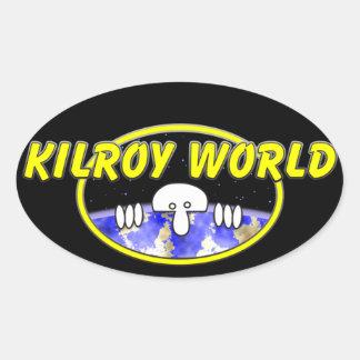 Pegatina del óvalo del mundo de Kilroy