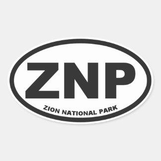 Pegatina del óvalo del parque nacional de Zion